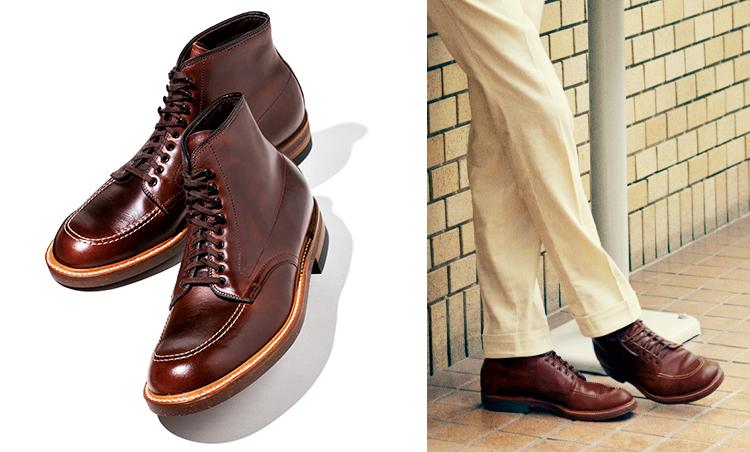 """<p><strong>ALDEN """"Indy Boots"""" in<br /> """"INDIANA JONES</strong><br /> 『インディ・ジョーンズ』でハリソン・フォードが着用し、インディのアイコンとして広まった人気作。市販品では足馴染みのよいクロムエクセルレザーをアッパーに採用している。幅広のトゥルーバランスラストは歩き心地も抜群で、まさに冒険者の足元に相応しい。9万7000円/オールデン(ラコタ)</p>"""