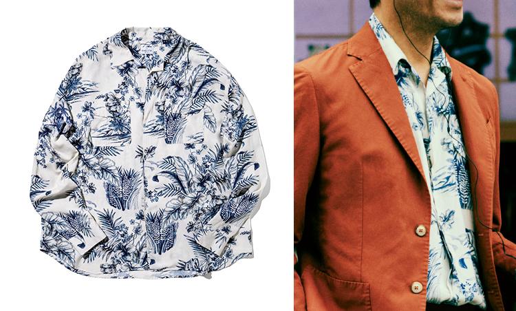 "<p><strong>Print Shirt in<br /> ""FIGHT CLUB""</strong><br /> 現代社会に生きる若者の鬱屈を衝撃的な手法で描いた『ファイトクラブ』。作中最大のキーパーソンであるタイラー(ブラッド・ピット)は、赤いライダースにプリントシャツというアウトローらしいスタイルが印象的。本企画ではレーヨン素材のプリントシャツを使用。2万4000円/バグッタ(トレメッツォ)</p>"