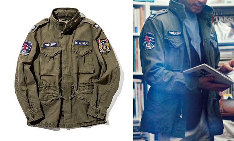 """<p><strong>M-65 type Jacket in<br /> """"TAXI DRIVER""""</strong><br /> 大都会の中の孤独をテーマとした『タクシードライバー』。銃やモヒカンとともに主人公トラヴィス(ロバート・デ・ニーロ)を象徴するのがM-65ジャケットだ。本企画で使用した一着は、リアルなヴィンテージ加工を施したラギッド感が魅力。6万6000円/ポロ ラルフ ローレン(ラルフ ローレン)</p>"""