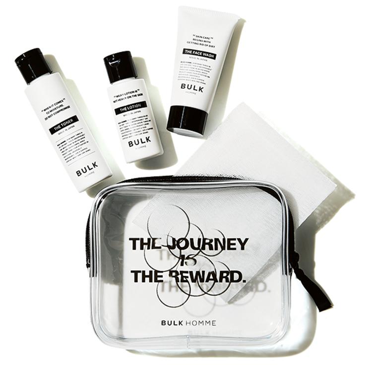 <p><strong>出張に便利な潤顔コスメはコレ!</strong><br /> <u>バルクオム/ザ トラベルセット フォーフェイスケア</u><br /> シンプルな洗顔料(20g)、化粧水(40ml)、乳液(20g)の基本の3品が朝・晩2回の使用で約5日分のセットに。旅に、ジムにといつでも準備しておきたい。2200円(バルクオム)</p>