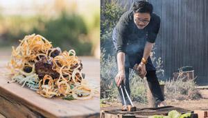 【一流シェフの「キャンプ飯」料理帖】牛のショートリブの薪焼き ジャガイモのサラダ