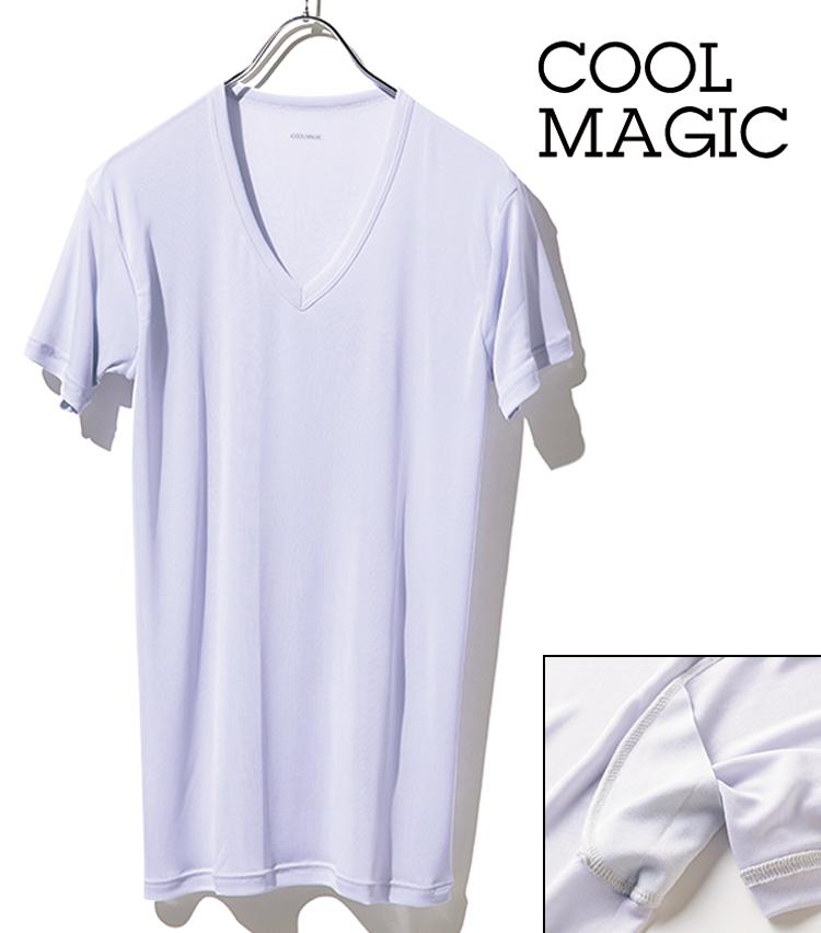 <p><strong>【No.2】クールマジックのVネックTシャツ<br /> ドライタッチの冷感素材が決め手</strong><br /> 消臭抗菌防臭など多彩な機能を備えたこちらだ。「吸汗速乾性のある冷感素材を用いた、夏場に高い人気を誇る一枚。汗脇パッド付きで、シャツ染みしにくいのも特筆点ですね」(大橋さん)。2500円(伊勢丹新宿店)</p>