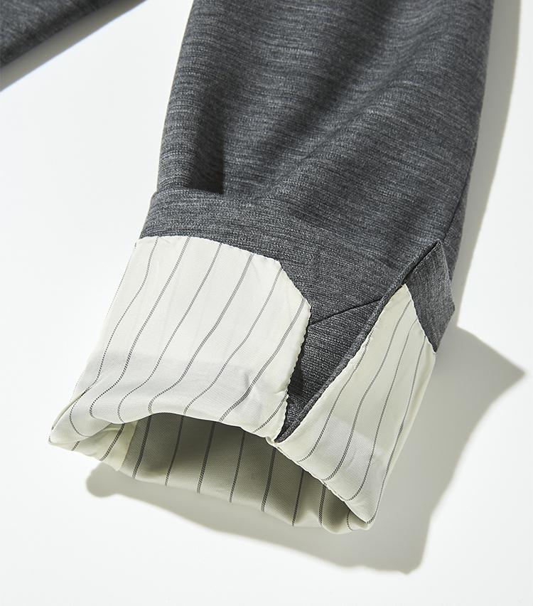 """<p><strong>【細部に宿る""""すごみ""""】</strong></p> <p>ハリコシがあり肘や膝など強いテンションがかかる部分も伸びないニット地は、袖口まで裏地が配され、着脱をスムーズに行える。</p>"""
