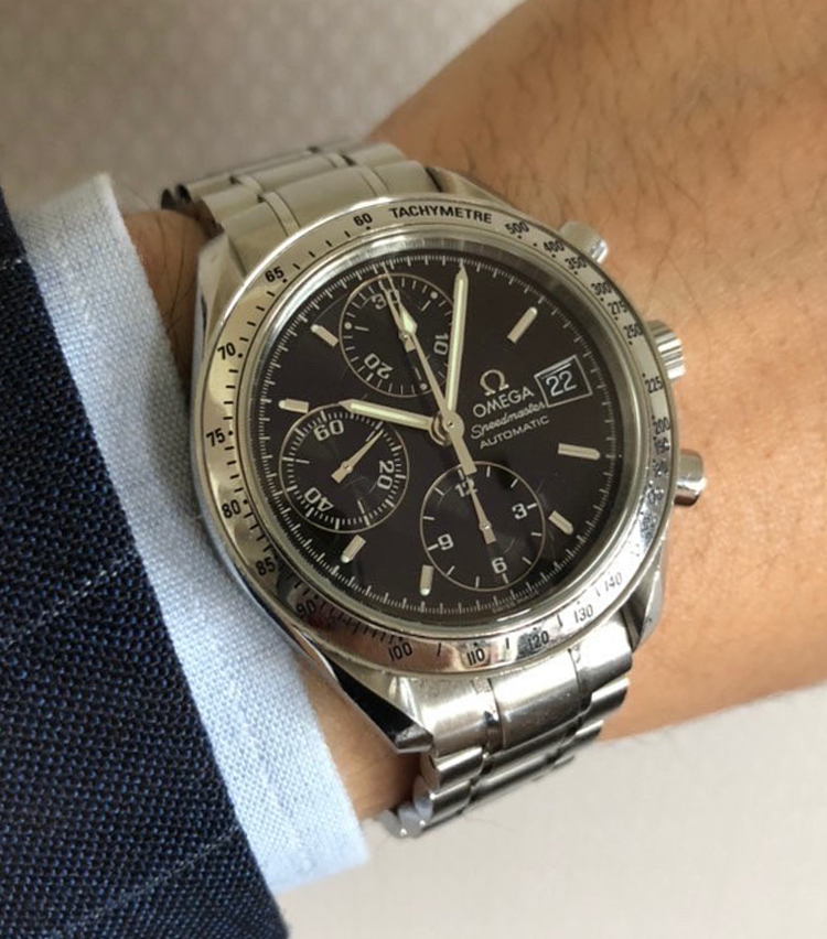 <p><strong>SHIPS 福岡店 スタッフ 楠本哲也さんの愛用時計<br /> オメガ/Speedmaster</strong></p>