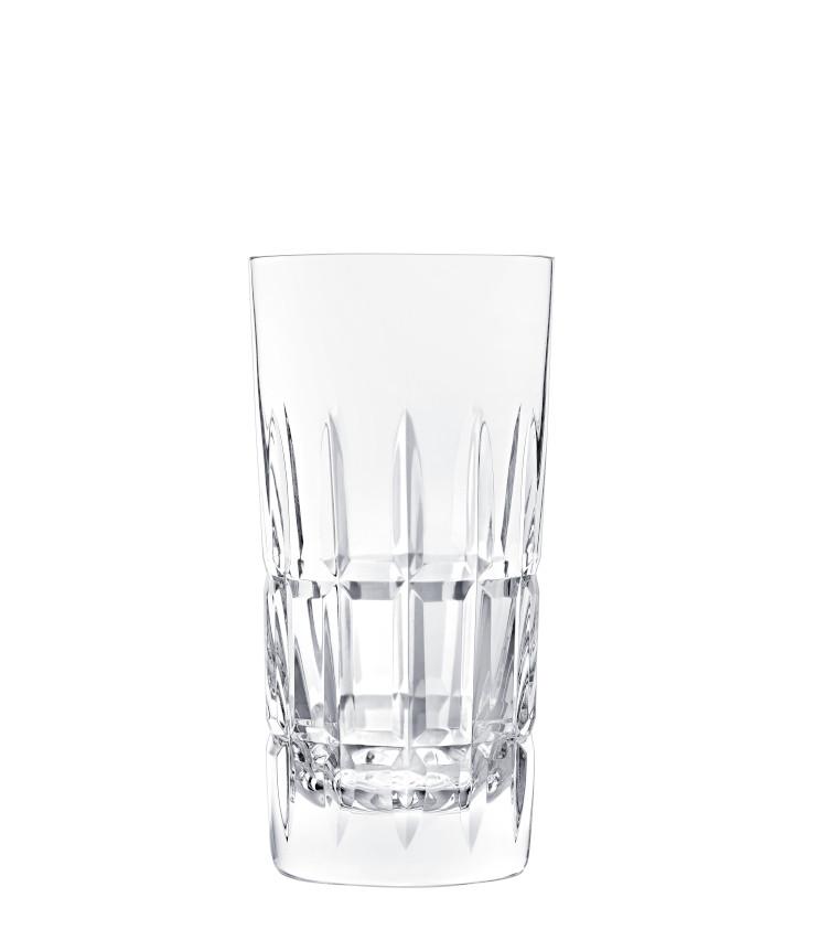 <p>ロングカクテル用のグラス。ハイボールにもぴったりのサイズ感だ。H150㎜×∅75㎜。350ml。1万7000円。</p>