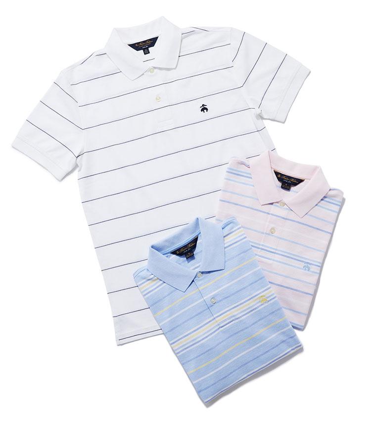 <p><strong>盛夏にぴったりな涼やかボーダーポロ</strong></p> <p>夏らしいさわやかな色合いのストライプ柄を取り入れると、涼しげで知的な印象に。シャツでは普段選ばないような柄に挑戦しやすいのもポロシャツの魅力だ。1万1000 円(ブルックス ブラザーズ ジャパン)</p>