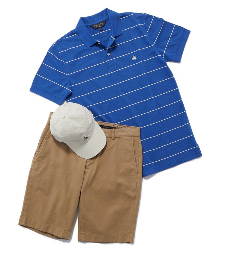 <p><strong>休日に着たい、アクティブコーデのポロ</strong></p> <p>ポロシャツはビジネスだけでなくプライベートでも活用でき、ジャケットのインナーから、休日のアクティブなコーディネートまで万能に着回せる。ショートパンツやキャップと合わせた、上品でいてゴルフなどにもぴったりな、カジュアルスタイルも可能。ポロシャツ1万1000円、パンツ1万4000円、キャップ4000円(ブルックス ブラザーズ ジャパン)</p>