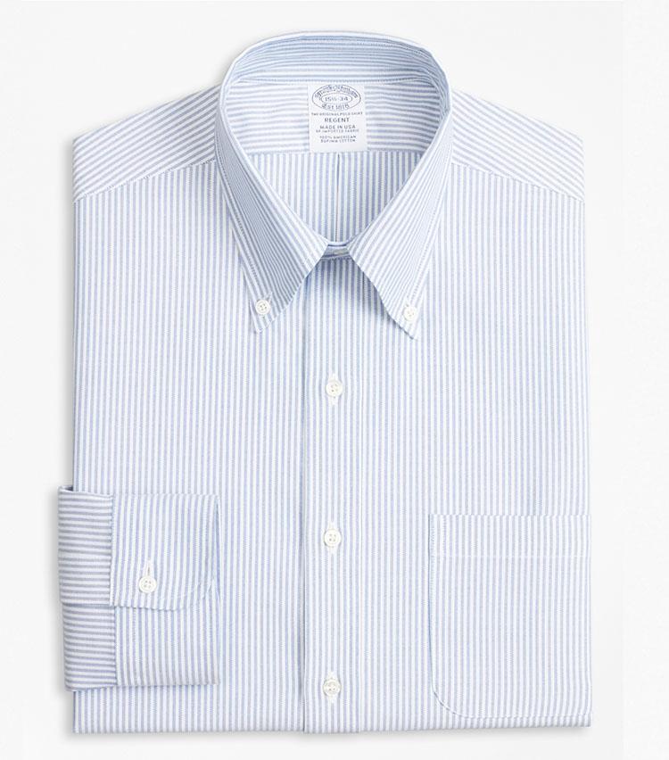 <p><strong>BROOKS BROTHERS</strong><br /> ブルックス ブラザーズ「スーピマコットン オックスフォード キャンディストライプ ポロボタンダウン ドレスシャツ Regent Fit」<br /> <strong>素材、縫製ともにアメリカ生まれの本格派</strong><br /> ブルー×ホワイトのキャンディストライプ地のシャツは、ベーシックで流行に左右されないのが魅力。今春夏シーズンからはポケット付きに仕様が改められ、より便利に。シルエットは、やや着丈の短い細身のリージェントフィット。米国産スーピマコットンの上質な風合いも大人にふさわしい。1万9000円<br /> <a class=