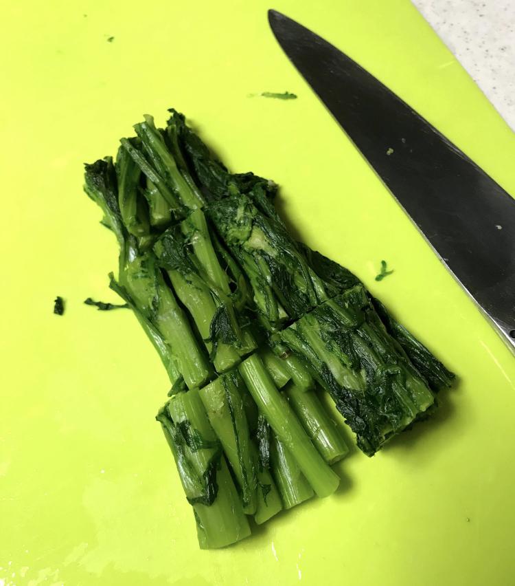 <p>7.ざるにあけ、水気を絞り、3cmくらいに切る。</p>