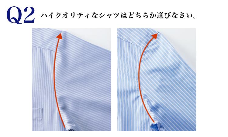 <p><strong>【こっそりヒント】</strong><br /> アームホールの縫いが曲線になっているのはどちらか?</p>