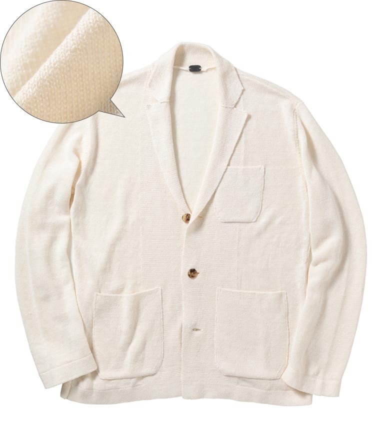 <p><strong>991 / キューキューイチ</strong><br /> 昨今は様々な素材によるニットジャケットが発売されているが、夏に涼しく着られることに主眼を置くなら、このようなリネン主体のものがおすすめ。シャリっとした肌触りで通気性にも優れるため、汗ばむ季節の外出にも快適だ。5万2000円(グジ 東京店)</p>