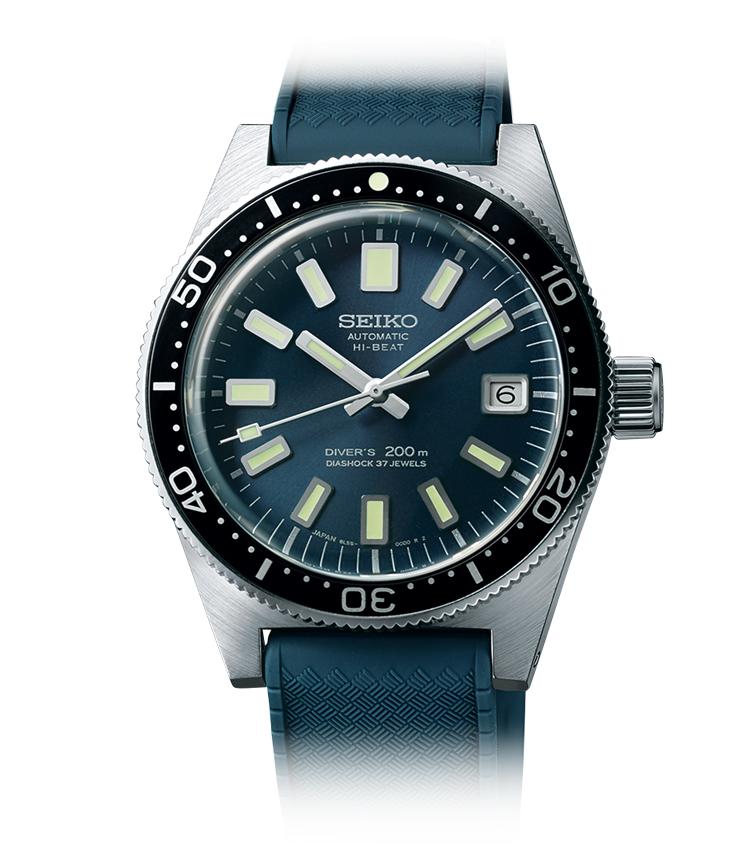 <p><strong>【国産ダイバーズの歴史をその姿で今に伝える】<br /> SEIKO / セイコー<br /> 1965メカニカルダイバーズ復刻デザイン プロスペックス SBEX009</strong><br /> 初代ダイバーズの姿を再現し、ダイヤルは新色ブルーグレーで深海をイメージした。ケースは耐蝕性が高い新素材製。限定1100本。自動巻き。径39.9mm。エバーブリリアントスチールケース。シリコンストラップ。65万円(セイコーウオッチお客様相談室)</p>