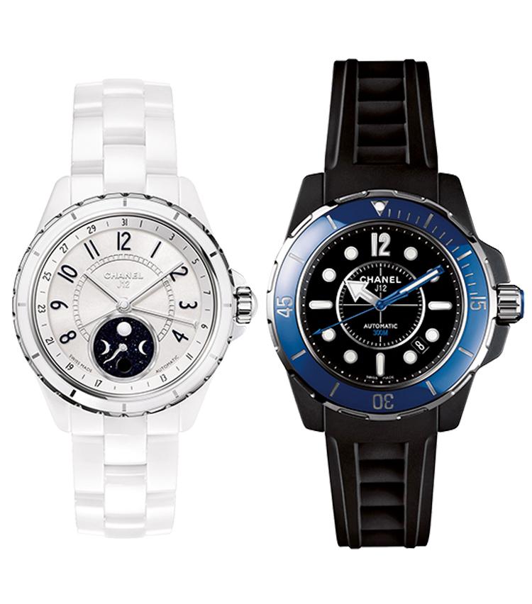 <p><strong>【2010-2013】多彩なジャンルに挑戦<br /> カラーリングや機構でセラミック時計の魅力を増す</strong><br /> 右は2010年発表の青ベゼルで300m防水の「J12 MARINE」。'13年には月齢表示を持つ左の「J12 ファーズ ドゥ リュヌ」が登場するなど、多様なモデルが展開された。</p>
