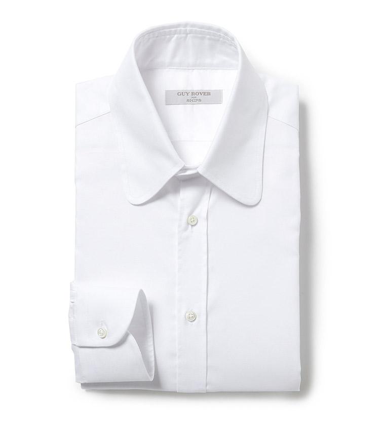 <p><strong>■GUY ROVER for SHIPS</strong><br /> 目の詰まった非常に上品な印象のピンオックスフォード生地のラウンドカラーシャツは、クラシックなドレススタイルが見直される今、Vゾーンに新鮮味を与えてくれる。「ラウンドカラーの襟型を型紙から製作依頼したシップス45周年企画。レギュラーに近い大振りなラウンドカラーは、カラーピンなどでアクセントを付けてクラシックかつスポーティな雰囲気で合わせたいですね」。<br /> 2万2700円(シップス銀座店)</p>