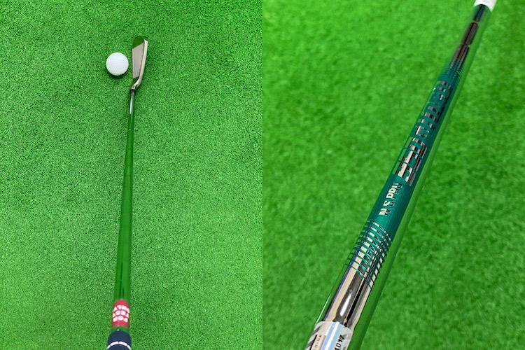 写真・左/球を包み込んで打てそうな顔つきのヘッド形状。写真・右/試打クラブのシャフトは90グラム台の「N.S.PRO 950GH neo」
