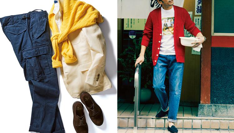 カラフルコーデで大人っぽさを保つには、革靴を合わせるのがセオリー