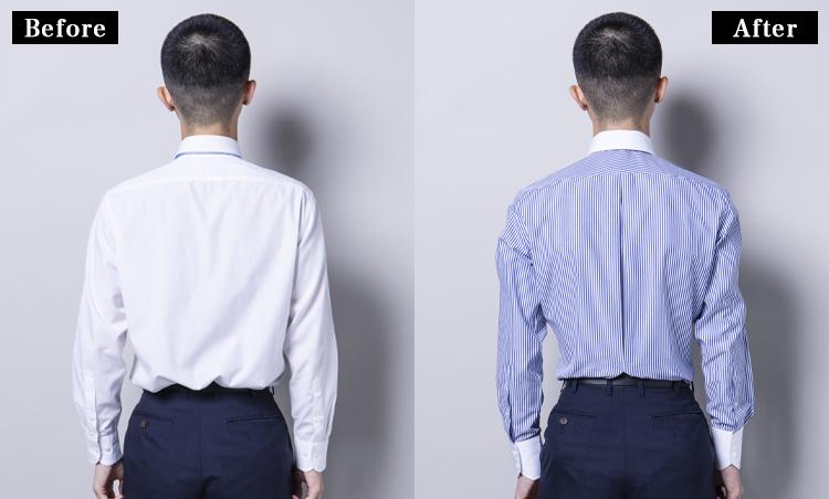 <p><strong>インバーテッドプリーツに注目!</strong><br /> このシャツの一番の特徴とも言える、ウエスト位置でステッチ留めされたインバーテッドプリーツのタッキング。布が余ってしまっていた胴回りが、この仕様のおかげでピッタリに。</p>