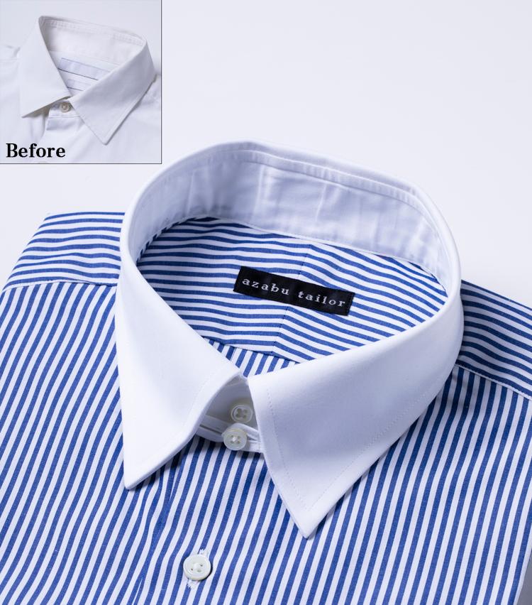 <p><strong>立体感のある襟</strong><br /> 「ペシャッとした平坦な造りだったのに対して、麻布テーラーのシャツは襟がしっかりと立ち上がっていて立体的ですね!」 第一釦上の襟と襟がズレることなくきちんと合わさっているのも造りの良さゆえ。</p>