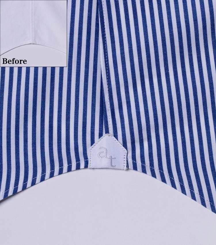 <p><strong>丁寧に縫われたガゼット</strong><br /> 麻布テーラーのシャツには、高級シャツによく見られるディテールであるガゼットが。工程上複雑になるので省かれることも多いディテールだが……さすが。</p>