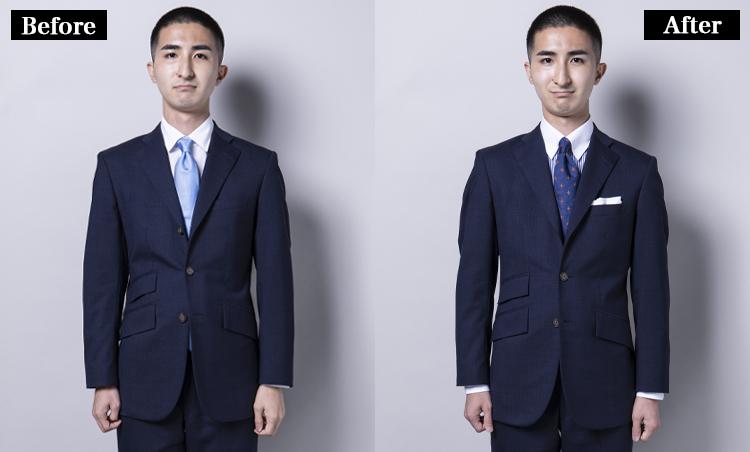<p><strong>ジャケットを着ると一目瞭然!</strong><br /> ジャケットを着てみると明らかな違いが! ビフォーのVゾーンはのっぺりとした印象。それに対して麻布テーラーは、クレリックとストライプが視覚的なメリハリを生むと共にタブカラーがネクタイを持ち上げているので、立体感あり。見えていなかった袖も2cm程度見えるようになり、セオリー通りのスーツスタイルに。 </p>