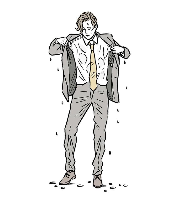 雨濡れで服がよれるのがみっともない