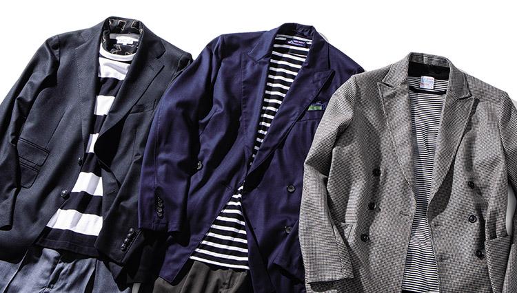 「黒字ボーダー」のTシャツがジャケットコーデに活躍