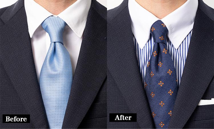 <p><strong>これほどまでに違う、襟の造り</strong><br /> 襟の造りの違いも歴然。ビフォーは襟が浮いてしまっていて間の抜けた印象だが、麻布テーラーは襟がピタリと引っ付いており、ネクタイを美しく見せてくれている。</p>