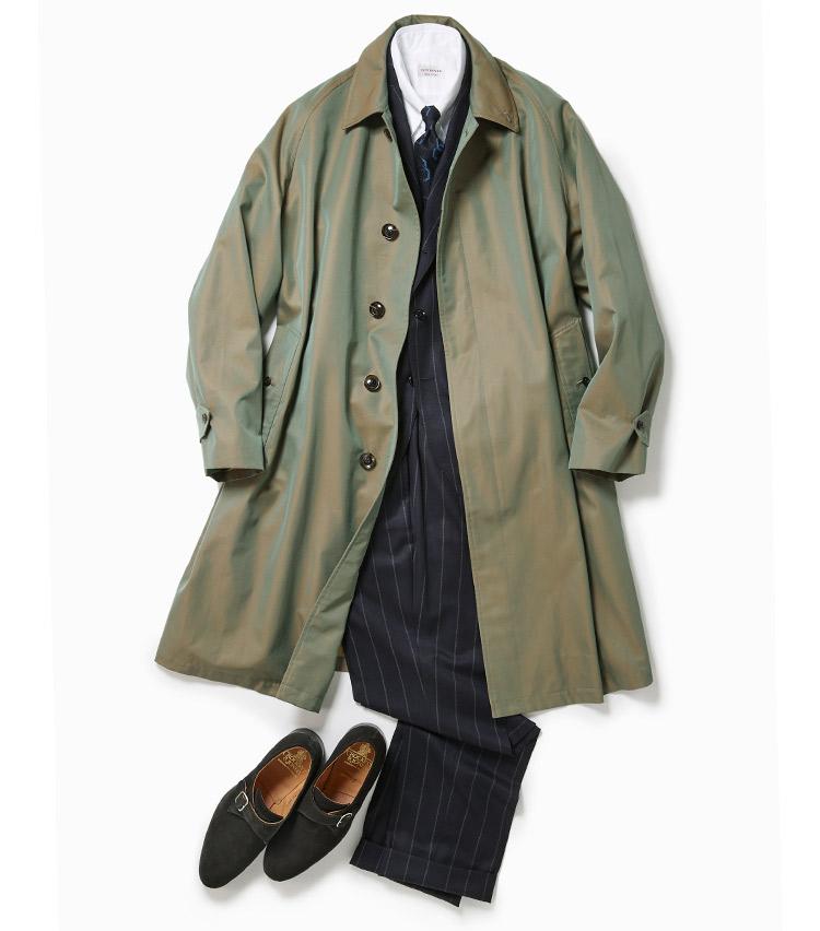 <p>ピッチ幅の広いストライプ柄のスーツはここ数年のトレンド。幾何学的な柄やタブカラーのシャツでVゾーンにさりげないアクセントを添えている。秋冬の定番のスエード靴もシングルモンクでひとひねり。英国的スタイルを醸し出しつつディテールで今っぽさを表現。<br /> コート11万5000円/オーベルジュ、スーツ11万8000円/ビームスF、シャツ2万1000円/ギ ローバー、タイ1万7000円/フランチェスコ マリーノ、靴7万2000円/クロケット&ジョーンズ(以上ビームス 六本木ヒルズ)</p>