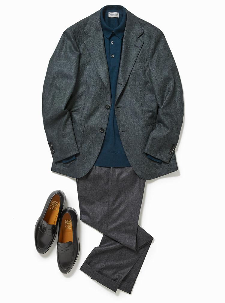 やや寛いだ雰囲気のジャケットスタイル