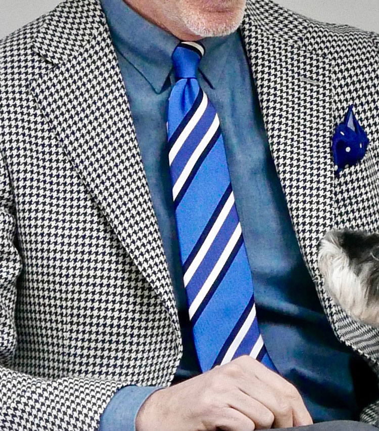 <p><strong>2.グレー×ブルーで春の爽やかさを呼ぶ</strong></p> <p>春らしいライトなタブカラーのデニムシャツに、千鳥格子のテーラードジャケットを合わせたジャケパンスタイル。タイドアップの上品さに合わせ、パンツはグレーのウール。胸元にはアクセントとなる爽やかなブルー×ホワイトのストライプのシルクタイを。程よい光沢感が大人の品格を演出してくれる。</p>