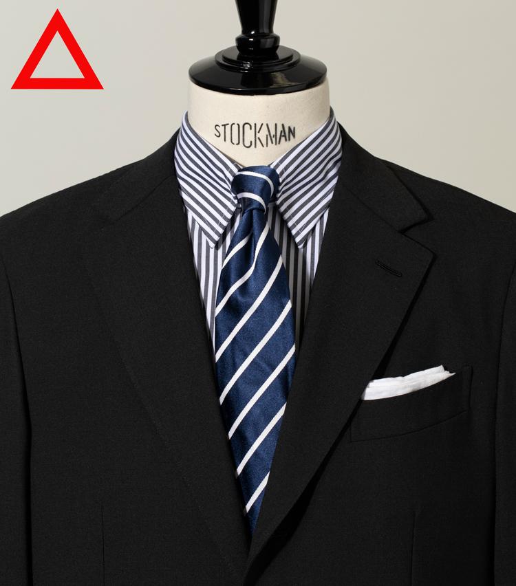 <p><strong>[細ピッチのタイ]<br /> ピッチが近いと目がチカチカする</strong><figcaption>スーツとシャツは左と同じ タイ2万5000円/トゥモローランド(トゥモローランド)</figcaption>