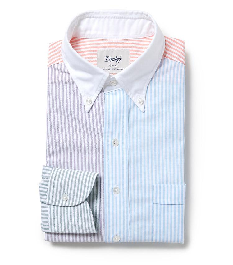 <p><strong>Drake's</strong><br /> 4種類のカラーストライプを組み合わせた別注ファブリックを用いて製作したドレスシャツは、周りの目を惹き、装いの主役となる一枚だ。「色が暗くなりがちな秋冬シーズンにも是非取り入れて頂きたいです。様々なトレンドが移り変わる昨今、紺ジャケや紺ブレに合わせるスタイルは永久定番と言っても過言ではないです」。2万4000円(ビームス 六本木ヒルズ)</p>