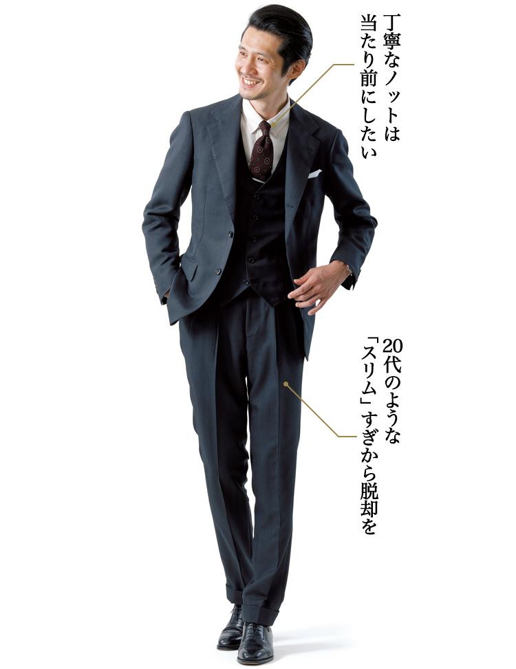 グレーの3ピーススーツ