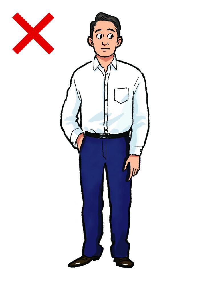 <p><strong>NG実例1:その白シャツで大丈夫?</strong><br /> 「ノータイでシャツ一枚のクールビズ」。これは間違った着こなしではない。が、単にネクタイとジャケットを外して、いつもスーツに合わせていた白シャツだけの装いはどこか間が抜けてアウト。理由は素材と襟型だ。ブロードに代表される光沢感のある生地や、ネクタイを着用してこそ似合うナロータイプなどの襟型は、装いを簡略化しただけに見えてしまう。</p>