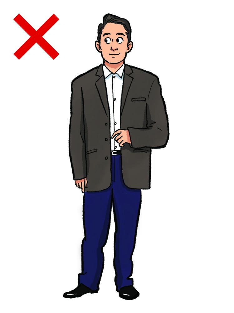 <p><strong>NG実例2:サイズ感がだぼだぼしている</strong><br /> 装いの基本となるのが、見栄えを左右する「サイズ感」だ。肩が落ちている、身幅がぶかぶか、袖やパンツの裾が長い……など、身体に合っていないサイズ感は、たとえ微差であってもだらしなく見えてアウト。スーツを着なくなったことで、適正なサイズバランスがわからなくなってしまった人が陥りがちなNGな装いなので要注意。</p>