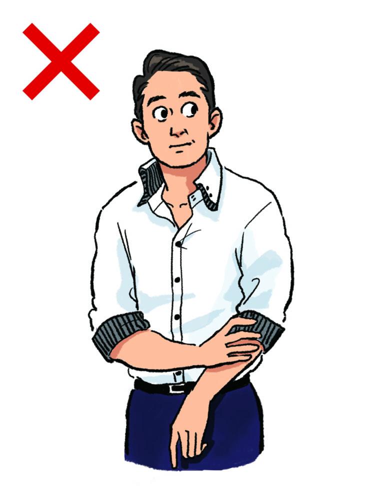 <p><strong>NG実例3:デコラティブなシャツに注意!</strong><br /> 巷でよく目にする「装飾過剰なシャツ」は、40代のビジネスマンとしては避けたいところ。襟や袖裏がチェック、ストライプなどの柄物になっていたり、ボタンがカラフルな縫い糸で付いていたり。こうしたディテールは、子どもっぽく見えるため、年齢相応の品格を損なってしまう。また、軽薄な印象を与えることにもつながるので、気を付けてほしい。</p>