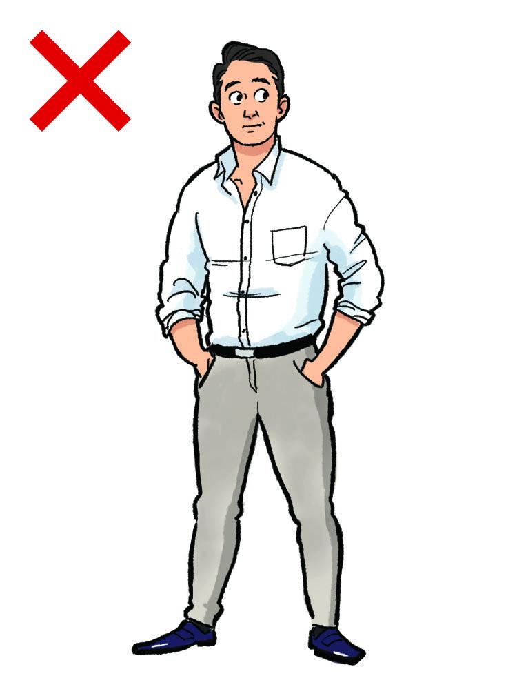 <p><strong>NG実例6:若作りのピタピタ服は恥ずかしい</strong><br /> 若者の装いにありがちなのが、過度にタイトなサイズ感の洋服。シャツの肩や胸、腕周りといった要所が引きつれるようなものは、あきらかにアウトだ。また、パンツも太腿やふくらはぎがピッチリしすぎて、体型が浮き出ているものはサイズ選びが間違っていると理解してほしい。適度なゆとりがあって、生地の風合いやドレープ(自然なたるみ)が伝わるくらいが、ビジネスシーンにはふさわしい。</p>