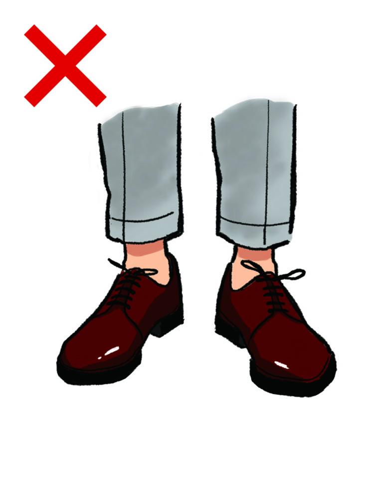 <p><strong>NG実例8:短丈のパンツに、素足履き</strong><br /> 若者のファッションや、イタリアのファッション業界人に多く見られる「短丈のパンツ+素足+派手な靴」。こちらはカジュアルな場でのお洒落としてならOKだが、一般的なビジネスの場だと、くだけすぎて見えるためアウト。特にファッションに関心のない人からすると「いい加減な人物だ」と思われる可能性が高く、信頼を失いかねない。</p>