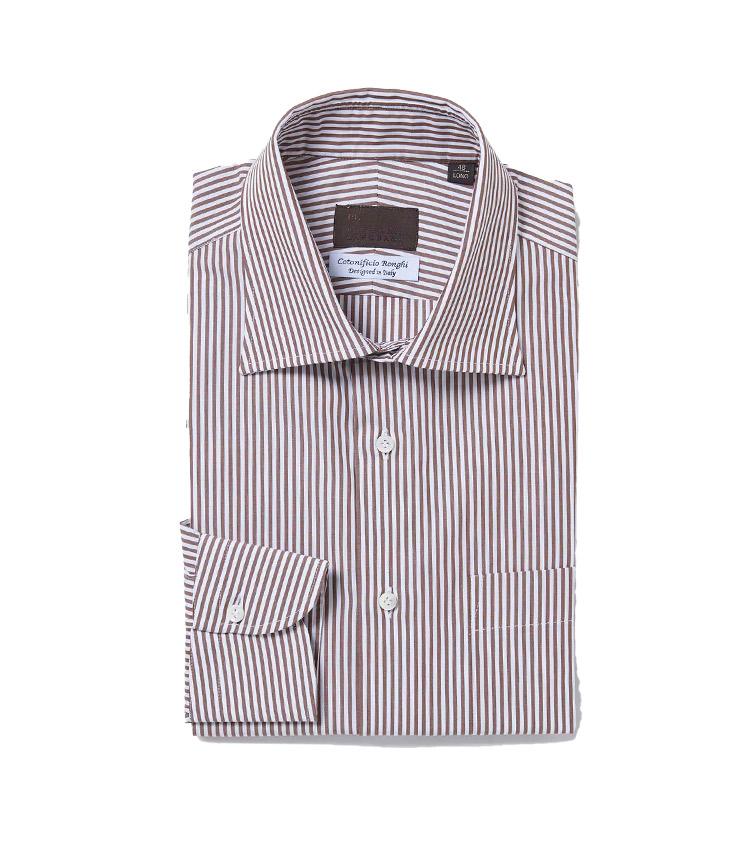 <p><strong>10.MADE IN ITALY ドレスストライプシャツ</strong><br /> イタリア・ナポリの老舗シャツメーカーに数量限定で別注したドレスシャツ。身頃と袖筒を別に仕立てるセットインスリーブ仕様はもちろん、脇下を3㎜幅の本縫いで仕上げる手間のかかる縫製により、マシンメイドとは思えない快適な着用感を実現している。イタリアの「COTNIFICIO RONGHI」社製の生地を使用。1万3000円</p> <p><a class=