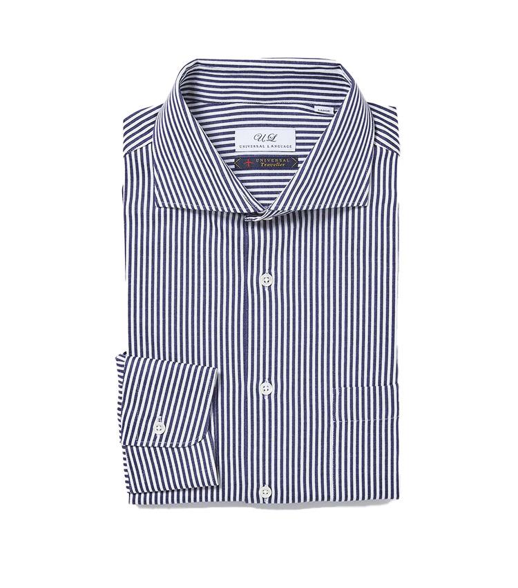 <p><strong>11.ジャージー ドレスストライプシャツ</strong><br /> どこから見ても布帛のシャツ地にしか思えないが、素材はストレッチ性に優れたジャージー。綺麗なロンドンストライプ柄も巧みなジャカード編みで表現している。シワになりにくく、ケアも簡単なため、出張にもうってつけだ。8800円</p> <p><a class=