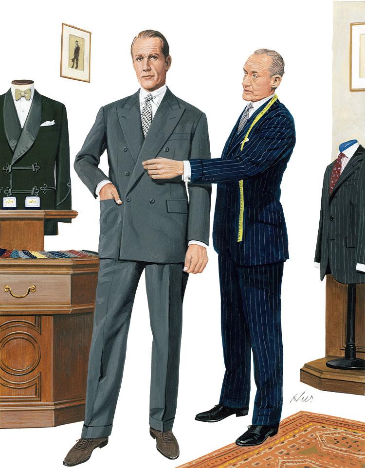 フランネルスーツの装い