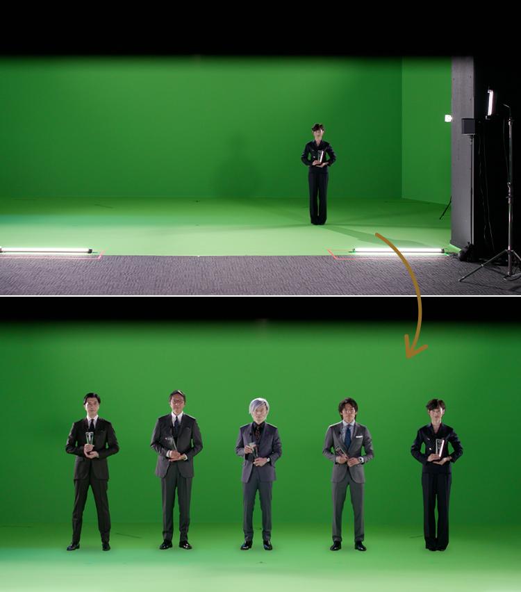 <p><strong>受賞者は個別に収録し、CG合成で集合シーンに</strong><br /> 会場は完全グリーンバック。そこがステージであるかのように皆さんに動いていただいた。撮影は個別収録。</p>