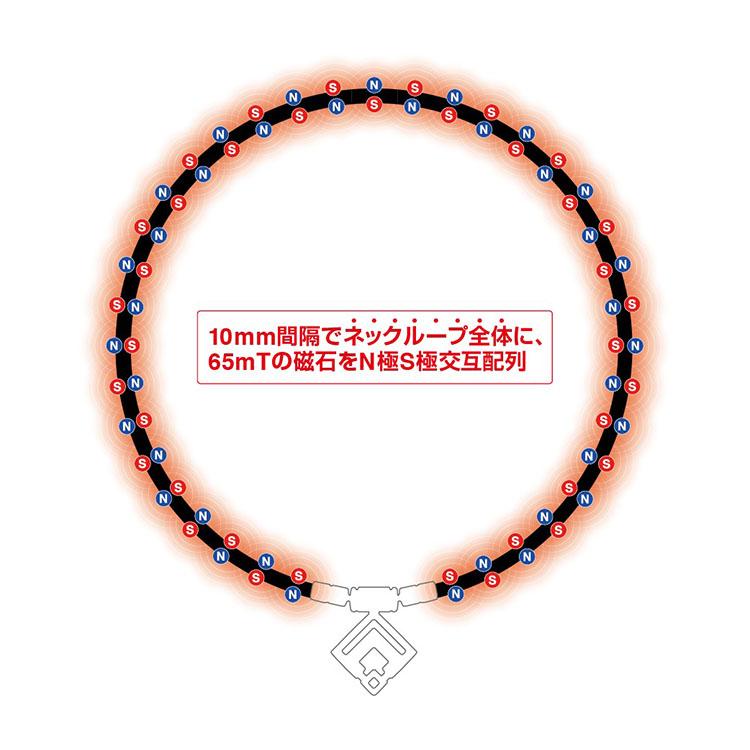 <p><strong>【コラントッテ TAO ネックレスα ARAN】</strong><br /> コラントッテ独自の N 極 S 極交互配列でネックループ全体に 65mT の磁石を 10mm 間隔に配置。この配列により磁力の効果が広範囲に働き、装着部位の血行を改善し、コリを緩和する。</p>
