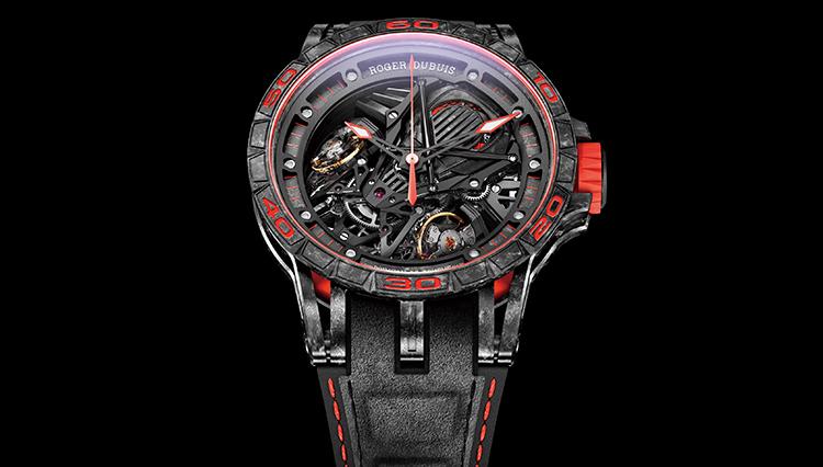 ランボルギーニ アヴェンタドールSのV12エンジンを表現したロジェ・デュブイの腕時計