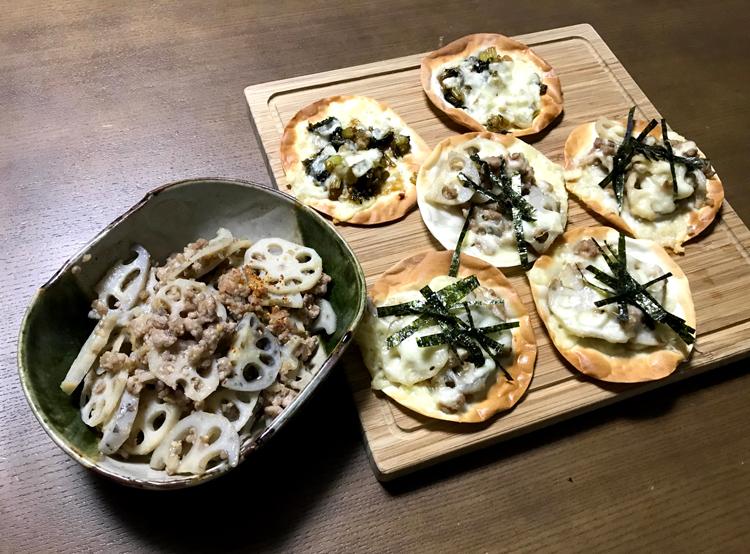 蓮根の味噌炒めとピザ