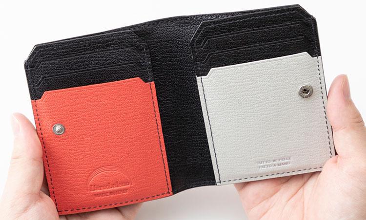 <p>《ラルコバレーノ/内装》<br /> スナップボタンで開閉させる仕様で、内装はオレンジとホワイトのバイカラー使いに。カード6枚、札入れ1つが備わる。</p>