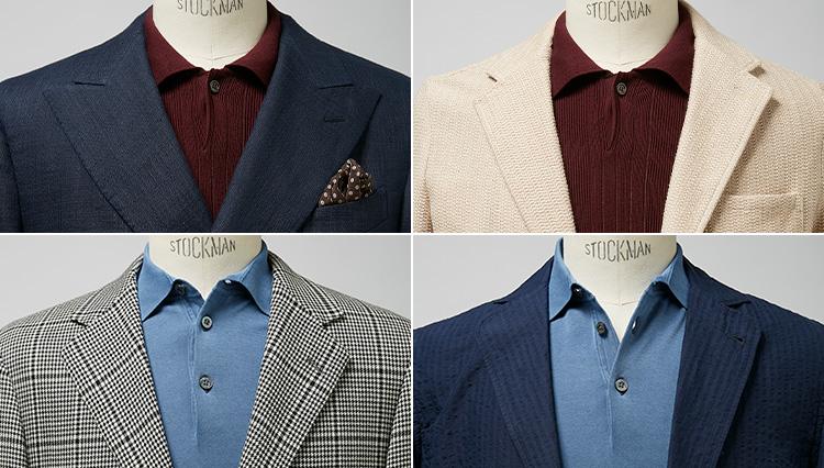 ニットポロをうまく着こなせば、いつものジャケットスタイルが新鮮に見せられる
