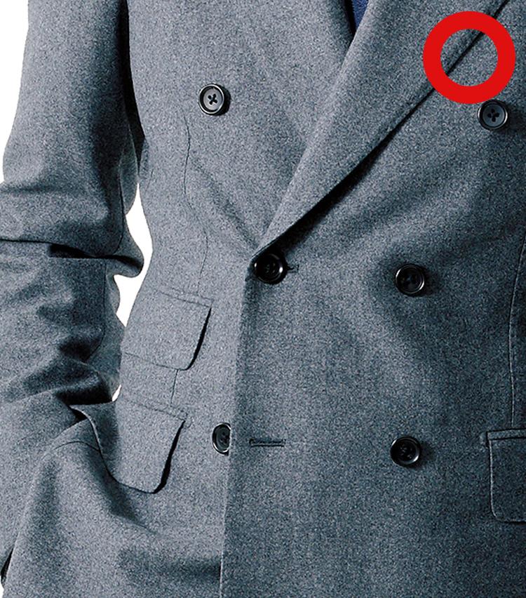 <p><strong>ダブルブレストスーツは左下を外す</strong></p>