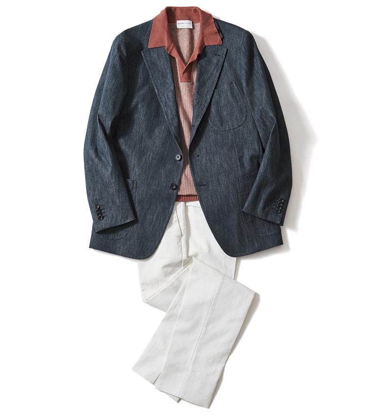 <p><strong>【Jacket】「スキッパーポロ+白パンでフレンチっぽく攻略」</strong><br /> ニット3万9000円/セッテフィーリ カシミア、パンツ3万7000円/ PT TORINO ジャケットは上の写真と同じ</p>