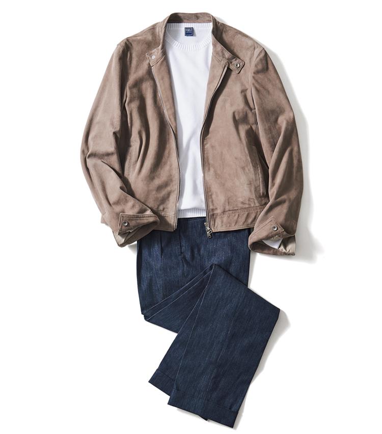 <p><strong>【Pants】「美しいシルエットが並みのデニスラに差をつける」</strong><br /> レザーブルゾン12万円/エンメティ、ニット3万5000円/フェデリ パンツは上の写真と同じ</p>